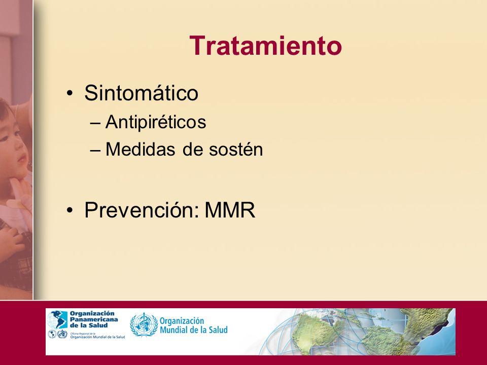 Tratamiento Sintomático –Antipiréticos –Medidas de sostén Prevención: MMR