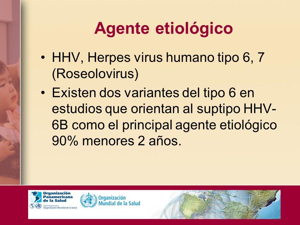 Agente etiológico HHV, Herpes virus humano tipo 6, 7 (Roseolovirus) Existen dos variantes del tipo 6 en estudios que orientan al suptipo HHV- 6B como