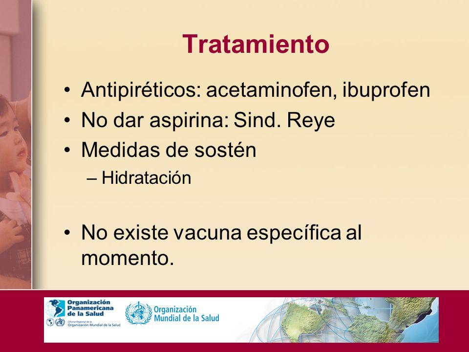 Tratamiento Antipiréticos: acetaminofen, ibuprofen No dar aspirina: Sind. Reye Medidas de sostén –Hidratación No existe vacuna específica al momento.