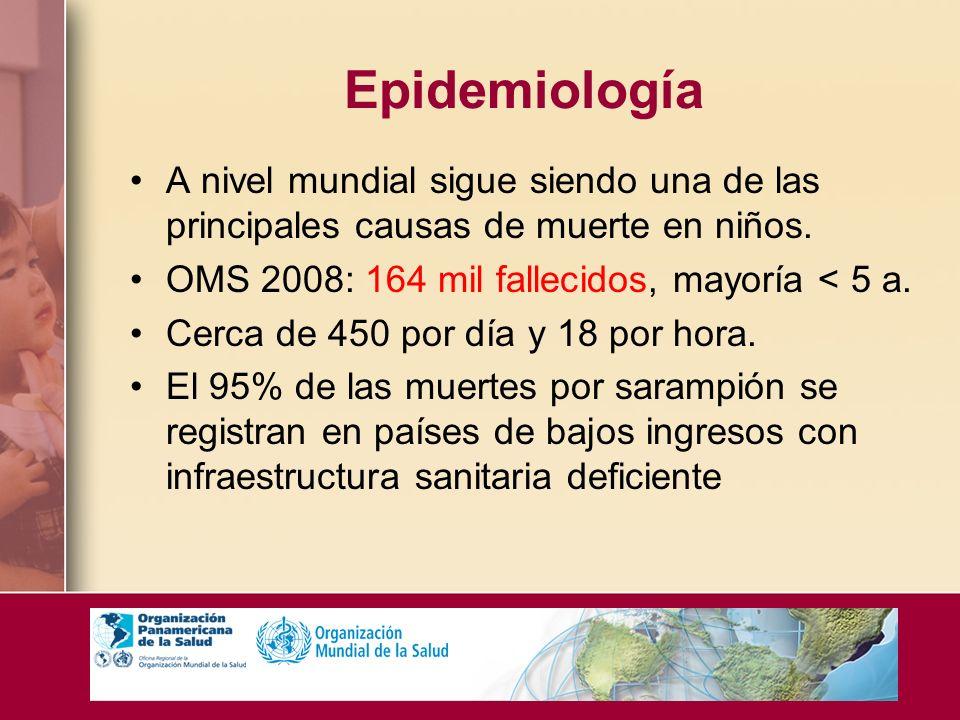 Epidemiología A nivel mundial sigue siendo una de las principales causas de muerte en niños. OMS 2008: 164 mil fallecidos, mayoría < 5 a. Cerca de 450