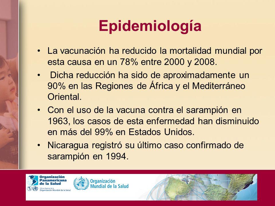 Epidemiología La vacunación ha reducido la mortalidad mundial por esta causa en un 78% entre 2000 y 2008. Dicha reducción ha sido de aproximadamente u
