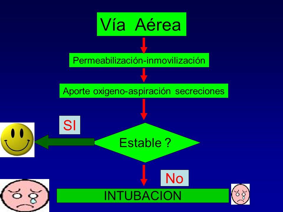 Vía Aérea Permeabilización-inmovilización Aporte oxigeno-aspiración secreciones Estable ? SI No INTUBACION