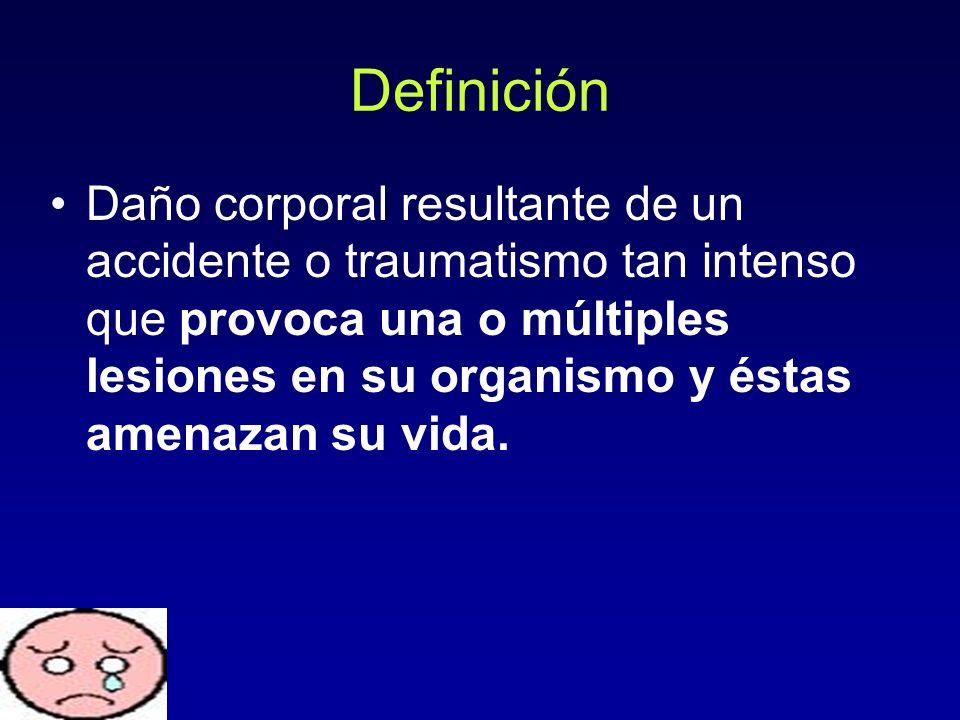 Definición Daño corporal resultante de un accidente o traumatismo tan intenso que provoca una o múltiples lesiones en su organismo y éstas amenazan su