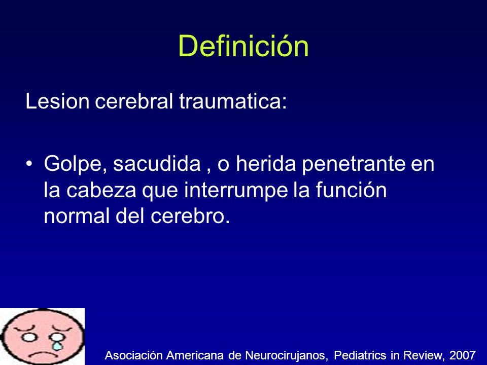 Definición Lesion cerebral traumatica: Golpe, sacudida, o herida penetrante en la cabeza que interrumpe la función normal del cerebro. Asociación Amer