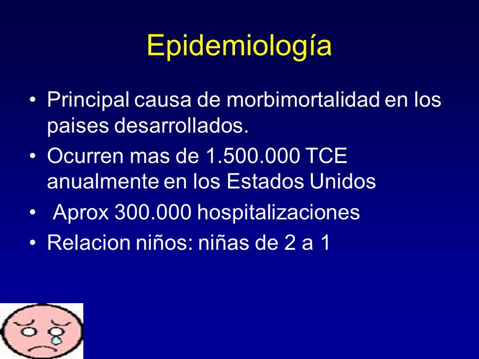 Epidemiología Principal causa de morbimortalidad en los paises desarrollados. Ocurren mas de 1.500.000 TCE anualmente en los Estados Unidos Aprox 300.
