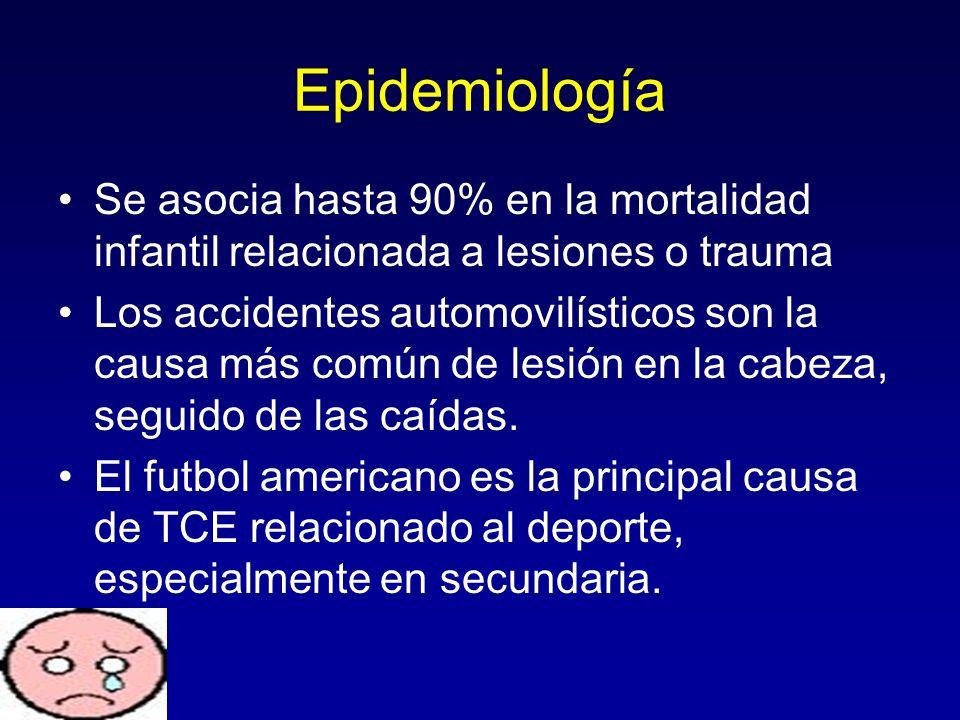 Epidemiología Se asocia hasta 90% en la mortalidad infantil relacionada a lesiones o trauma Los accidentes automovilísticos son la causa más común de