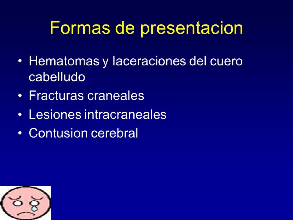 Formas de presentacion Hematomas y laceraciones del cuero cabelludo Fracturas craneales Lesiones intracraneales Contusion cerebral