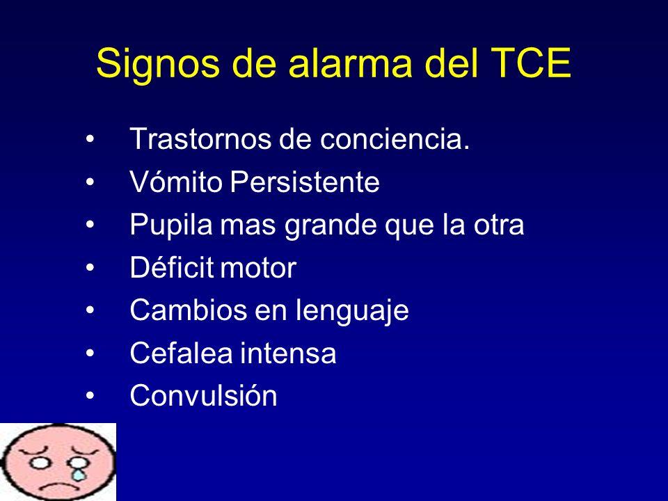 Signos de alarma del TCE Trastornos de conciencia. Vómito Persistente Pupila mas grande que la otra Déficit motor Cambios en lenguaje Cefalea intensa