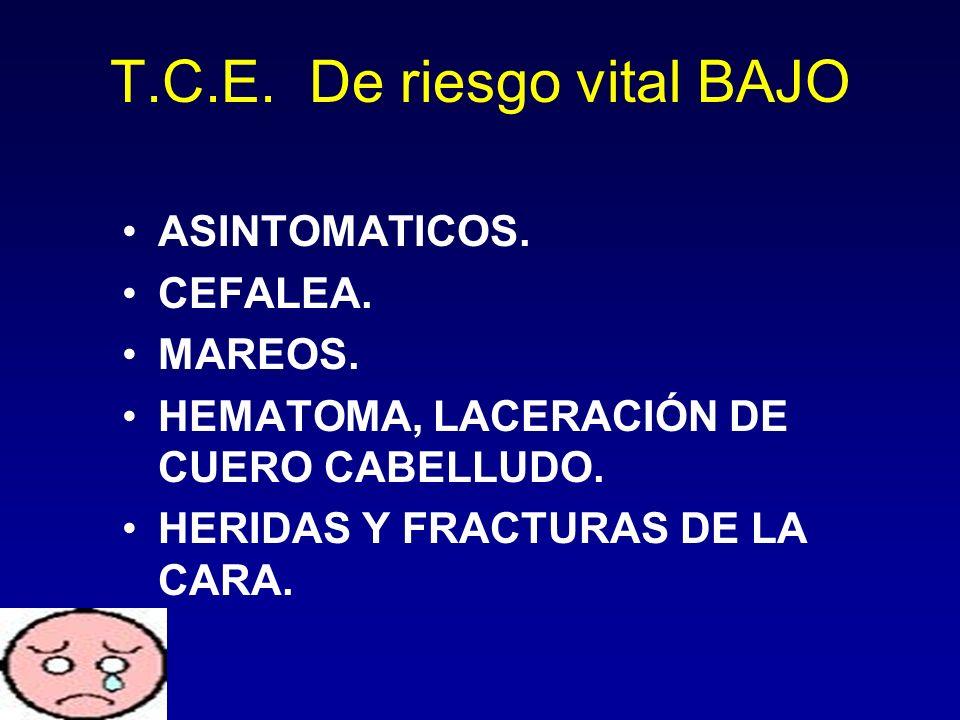 T.C.E. De riesgo vital BAJO ASINTOMATICOS. CEFALEA. MAREOS. HEMATOMA, LACERACIÓN DE CUERO CABELLUDO. HERIDAS Y FRACTURAS DE LA CARA.