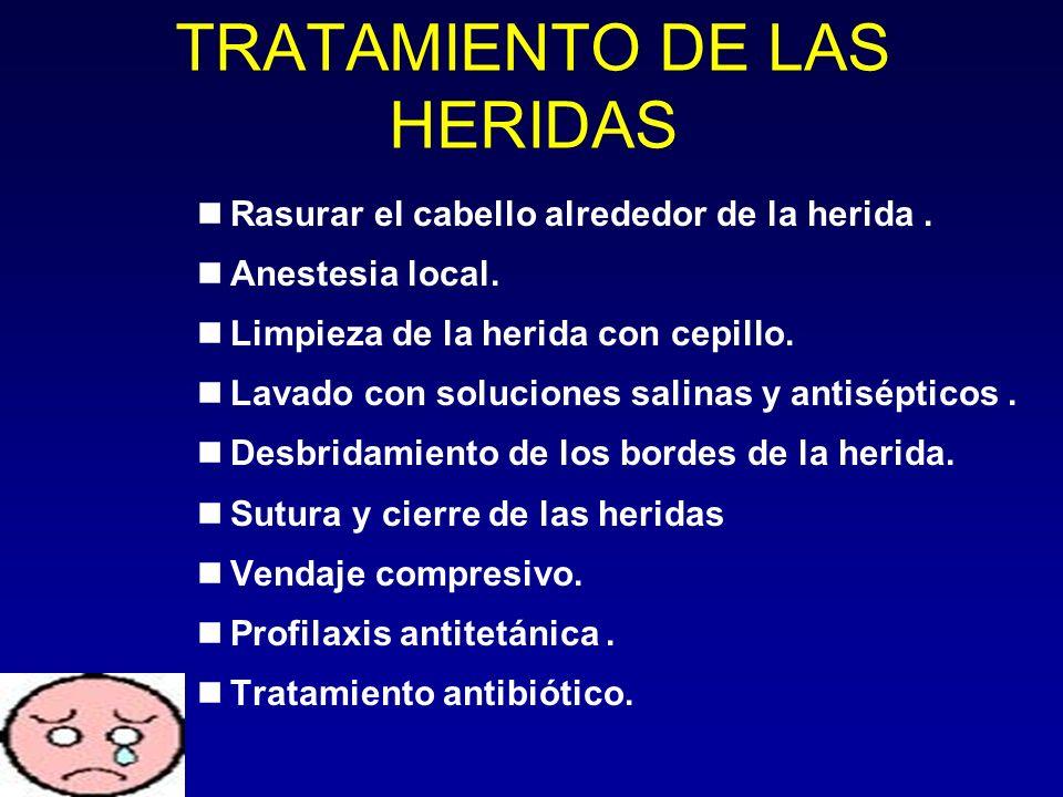 TRATAMIENTO DE LAS HERIDAS Rasurar el cabello alrededor de la herida. Anestesia local. Limpieza de la herida con cepillo. Lavado con soluciones salina