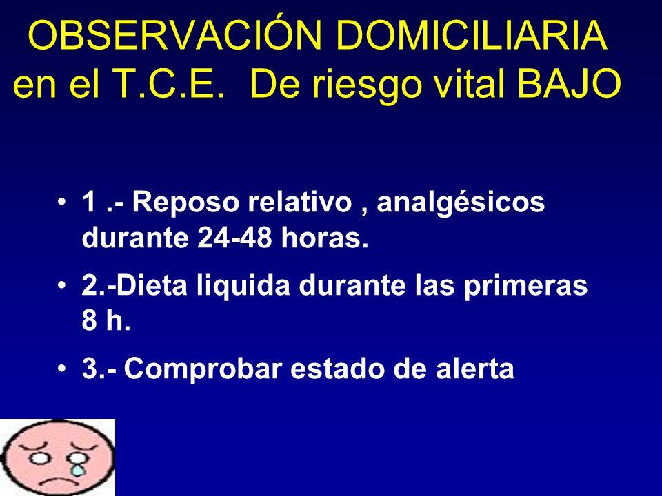 1.- Reposo relativo, analgésicos durante 24-48 horas. 2.-Dieta liquida durante las primeras 8 h. 3.- Comprobar estado de alerta OBSERVACIÓN DOMICILIAR