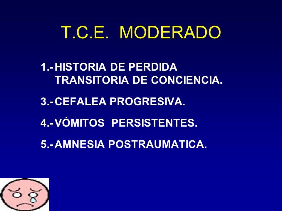 T.C.E. MODERADO 1.-HISTORIA DE PERDIDA TRANSITORIA DE CONCIENCIA. 3.-CEFALEA PROGRESIVA. 4.-VÓMITOS PERSISTENTES. 5.-AMNESIA POSTRAUMATICA.