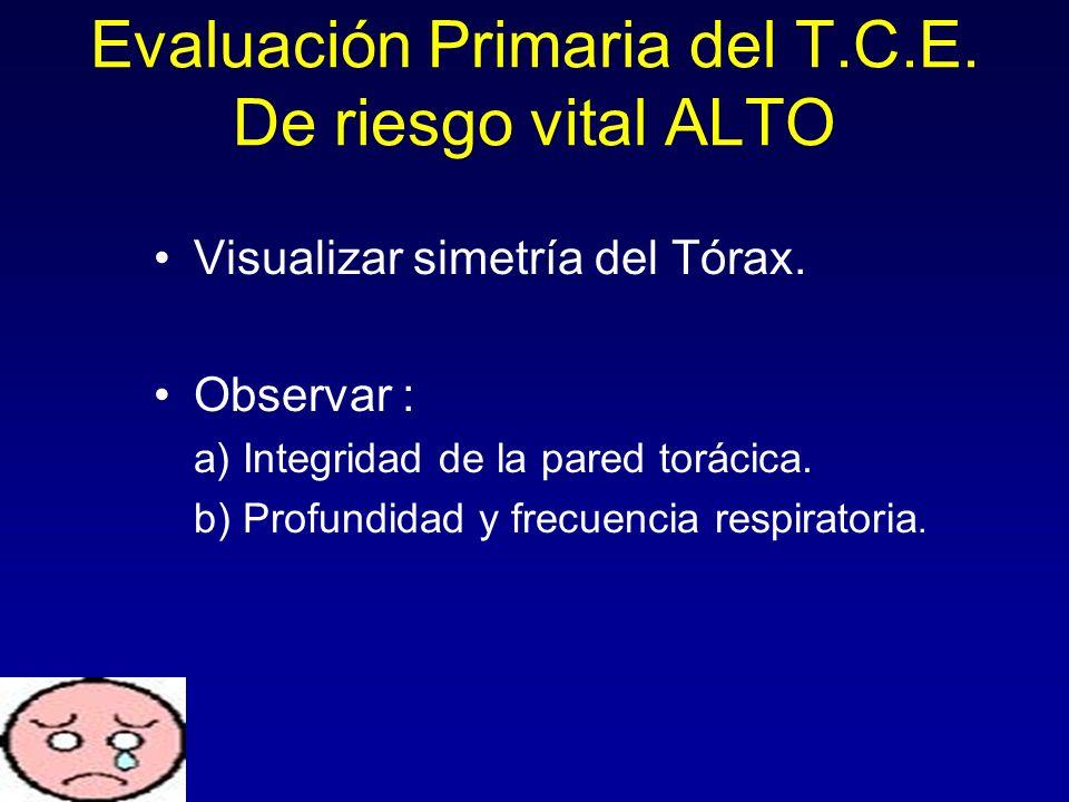 Visualizar simetría del Tórax. Observar : a) Integridad de la pared torácica. b) Profundidad y frecuencia respiratoria. Evaluación Primaria del T.C.E.