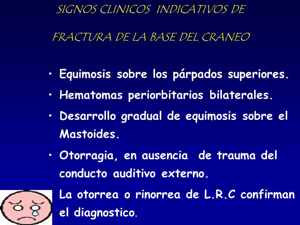 SIGNOS CLINICOS INDICATIVOS DE FRACTURA DE LA BASE DEL CRANEO Equimosis sobre los párpados superiores. Hematomas periorbitarios bilaterales. Desarroll