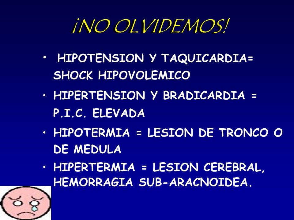 ¡NO OLVIDEMOS! HIPOTENSION Y TAQUICARDIA= SHOCK HIPOVOLEMICO HIPERTENSION Y BRADICARDIA = P.I.C. ELEVADA HIPOTERMIA = LESION DE TRONCO O DE MEDULA HIP