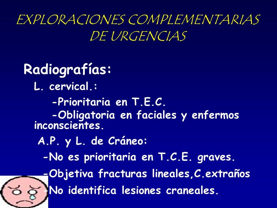 EXPLORACIONES COMPLEMENTARIAS DE URGENCIAS Radiografías: L. cervical.: -Prioritaria en T.E.C. -Obligatoria en faciales y enfermos inconscientes. A.P.