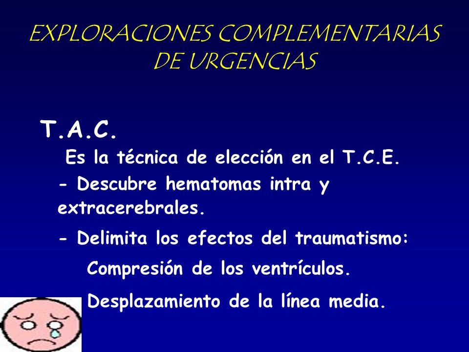 EXPLORACIONES COMPLEMENTARIAS DE URGENCIAS T.A.C. Es la técnica de elección en el T.C.E. - Descubre hematomas intra y extracerebrales. - Delimita los