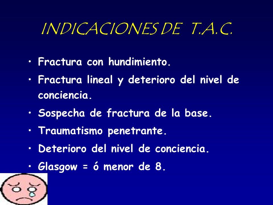 INDICACIONES DE T.A.C. Fractura con hundimiento. Fractura lineal y deterioro del nivel de conciencia. Sospecha de fractura de la base. Traumatismo pen