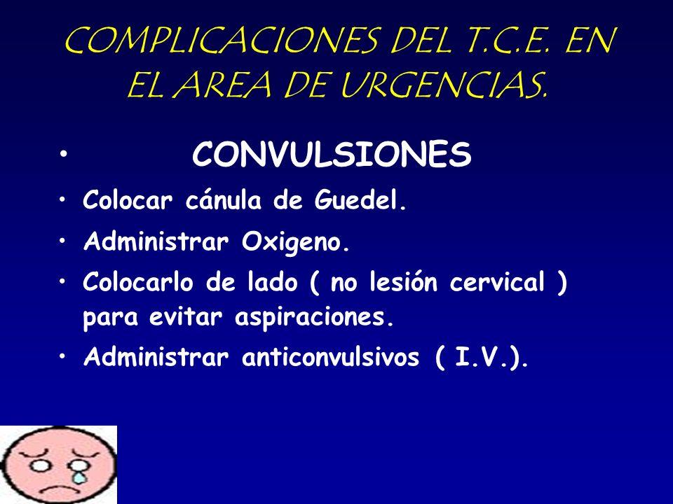 COMPLICACIONES DEL T.C.E. EN EL AREA DE URGENCIAS. CONVULSIONES Colocar cánula de Guedel. Administrar Oxigeno. Colocarlo de lado ( no lesión cervical