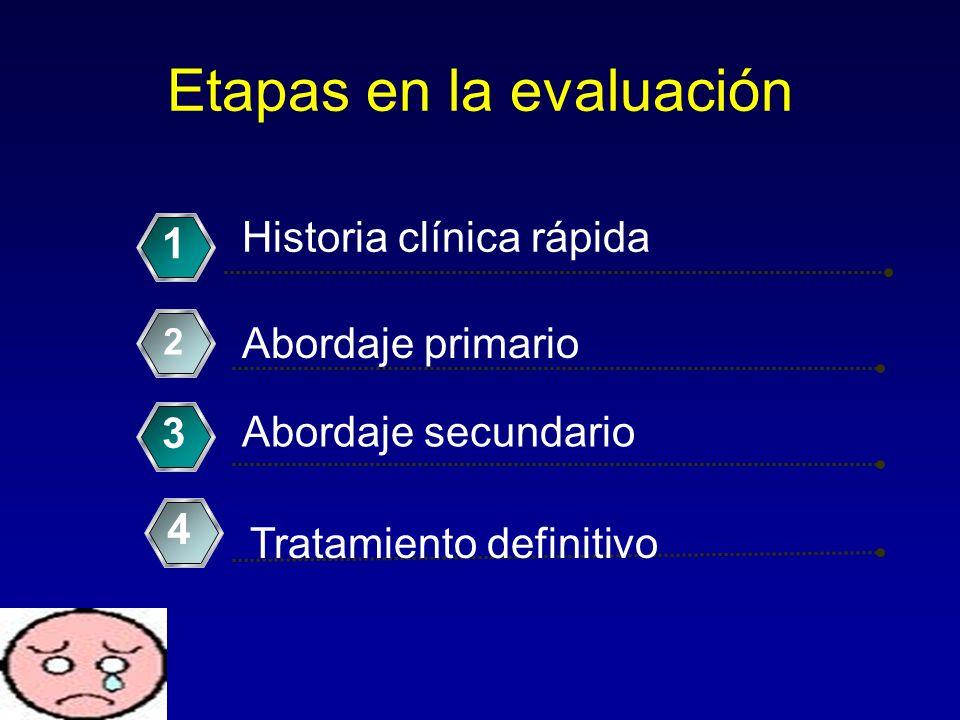 Etapas en la evaluación Historia clínica rápida 1 Abordaje primario 2 Abordaje secundario 3 Tratamiento definitivo 4