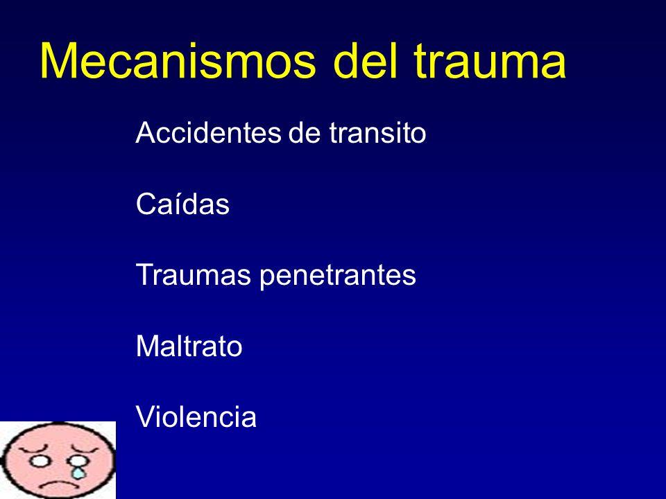 Mecanismos del trauma Accidentes de transito Caídas Traumas penetrantes Maltrato Violencia