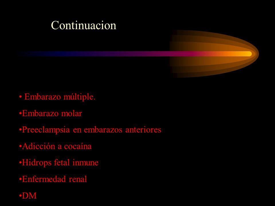 Embarazo múltiple. Embarazo molar Preeclampsia en embarazos anteriores Adicción a cocaína Hidrops fetal inmune Enfermedad renal DM Continuacion