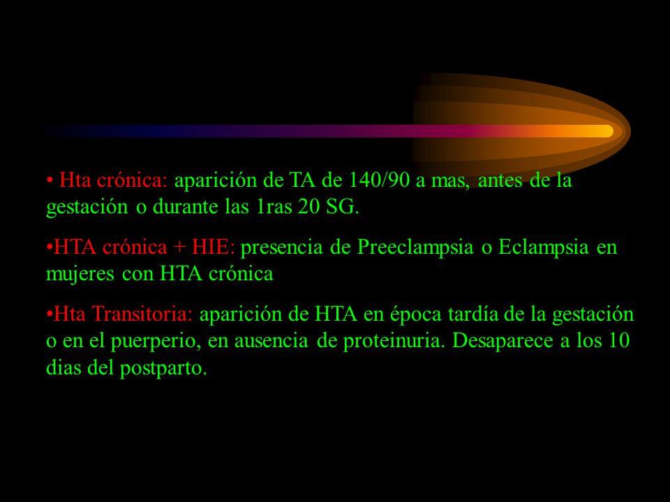 Hta crónica: aparición de TA de 140/90 a mas, antes de la gestación o durante las 1ras 20 SG. HTA crónica + HIE: presencia de Preeclampsia o Eclampsia