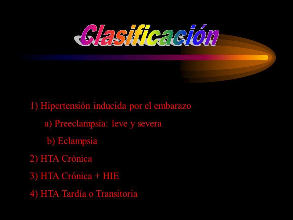 1) Hipertensión inducida por el embarazo a) Preeclampsia: leve y severa b) Eclampsia 2) HTA Crónica 3) HTA Crónica + HIE 4) HTA Tardía o Transitoria