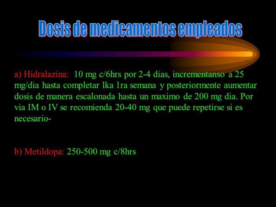 a) Hidralazina: 10 mg c/6hrs por 2-4 dias, incrementanso a 25 mg/dia hasta completar lka 1ra semana y posteriormente aumentar dosis de manera escalona