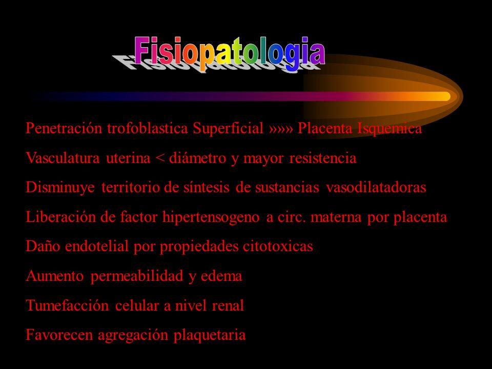 Penetración trofoblastica Superficial »»» Placenta Isquemica Vasculatura uterina < diámetro y mayor resistencia Disminuye territorio de síntesis de su