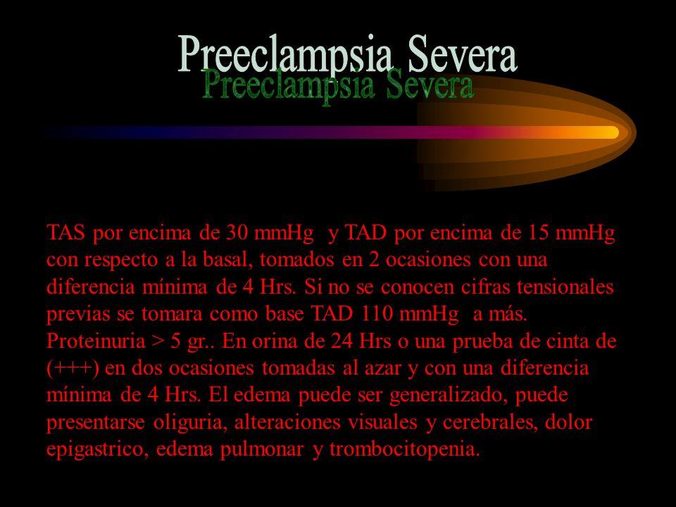 Signos de Preeclampsia Severa TAS >160 mmHg o TAD > 110 mmHg.