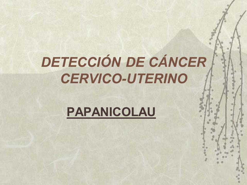 DETECCIÓN DE CÁNCER CERVICO-UTERINO PAPANICOLAU