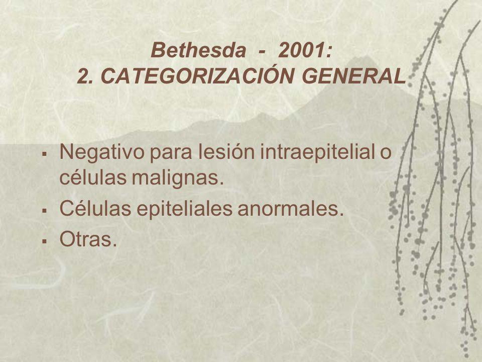 Bethesda - 2001: 2. CATEGORIZACIÓN GENERAL Negativo para lesión intraepitelial o células malignas. Células epiteliales anormales. Otras.