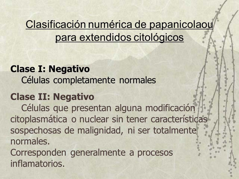 Clasificación numérica de papanicolaou para extendidos citológicos Clase I: Negativo Células completamente normales Clase II: Negativo Células que pre
