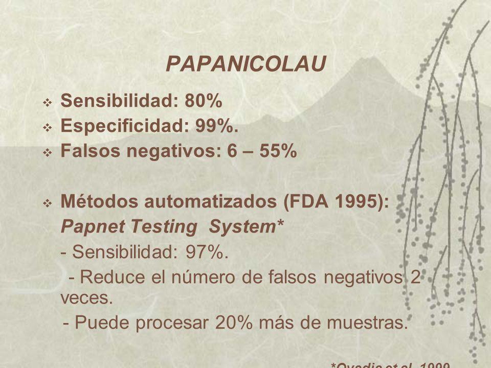 PAPANICOLAU Sensibilidad: 80% Especificidad: 99%. Falsos negativos: 6 – 55% Métodos automatizados (FDA 1995): Papnet Testing System* - Sensibilidad: 9