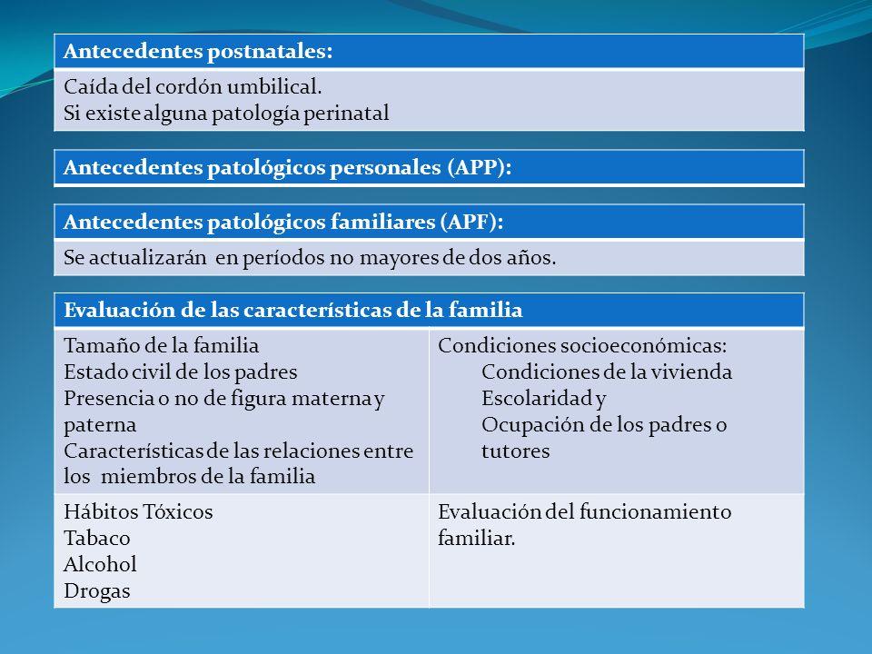 Antecedentes postnatales: Caída del cordón umbilical. Si existe alguna patología perinatal Antecedentes patológicos personales (APP): Antecedentes pat