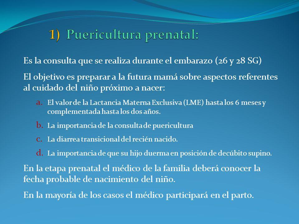 Es la consulta que se realiza durante el embarazo (26 y 28 SG) El objetivo es preparar a la futura mamá sobre aspectos referentes al cuidado del niño