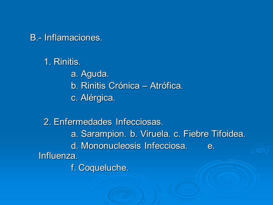 B.- Inflamaciones.1. Rinitis. a. Aguda. b. Rinitis Crónica – Atrófica.