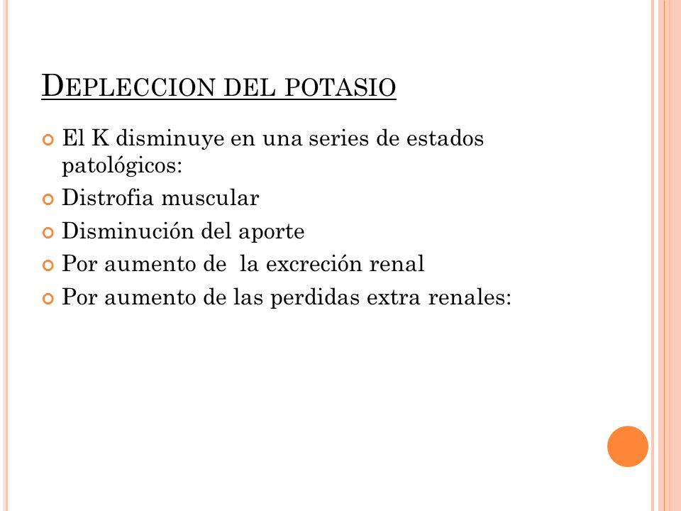 D EPLECCION DEL POTASIO El K disminuye en una series de estados patológicos: Distrofia muscular Disminución del aporte Por aumento de la excreción ren
