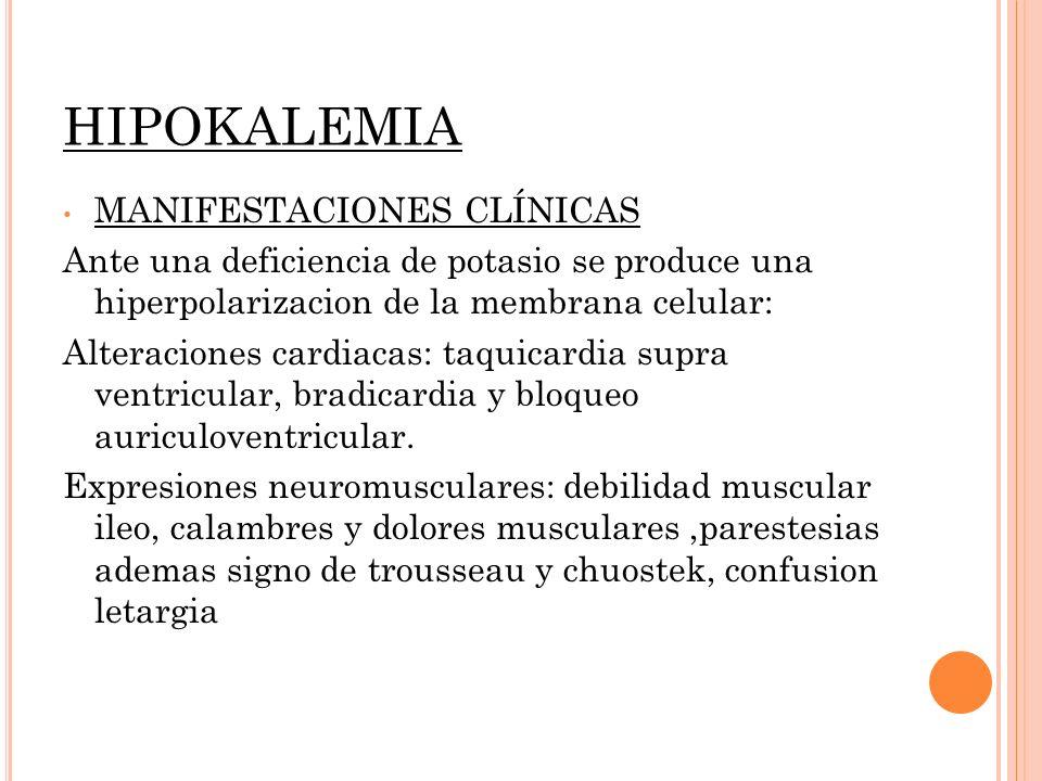 HIPOKALEMIA MANIFESTACIONES CLÍNICAS Ante una deficiencia de potasio se produce una hiperpolarizacion de la membrana celular: Alteraciones cardiacas: