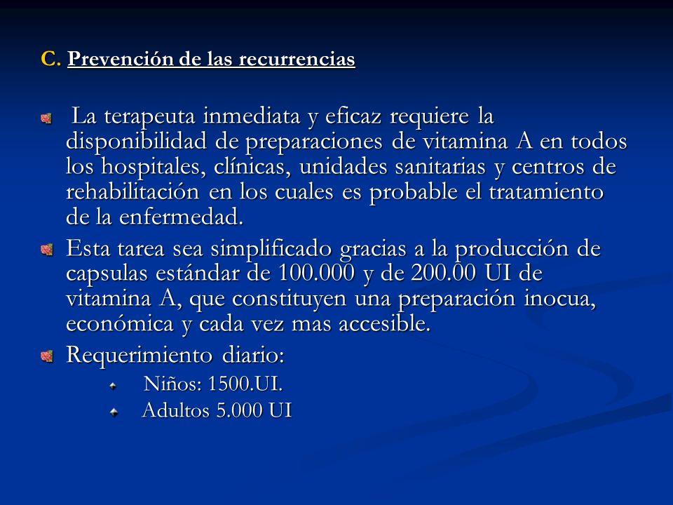 C. Prevención de las recurrencias La terapeuta inmediata y eficaz requiere la disponibilidad de preparaciones de vitamina A en todos los hospitales, c