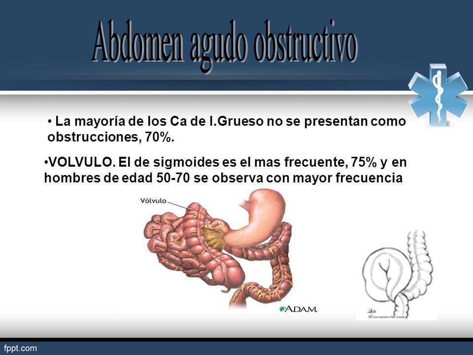 La mayoría de los Ca de I.Grueso no se presentan como obstrucciones, 70%. VOLVULO. El de sigmoides es el mas frecuente, 75% y en hombres de edad 50-70