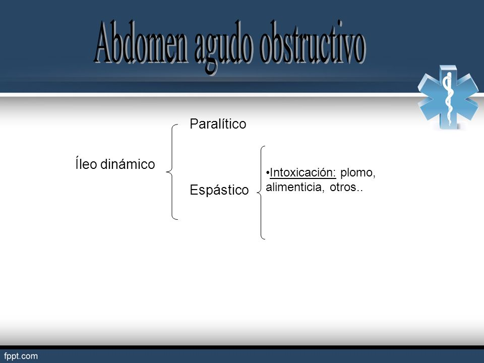 Íleo dinámico Paralítico Intoxicación: plomo, alimenticia, otros.. Espástico