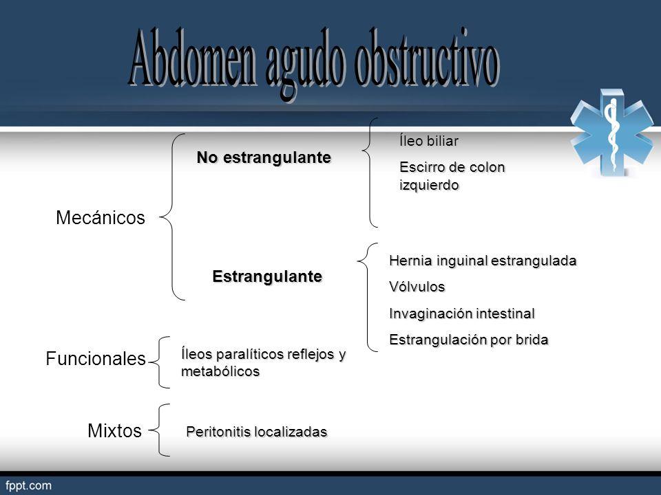 Mecánicos No estrangulante Estrangulante Íleo biliar Escirro de colon izquierdo Hernia inguinal estrangulada Vólvulos Invaginación intestinal Estrangu
