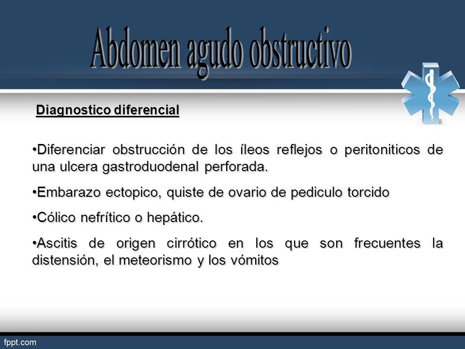 Diagnostico diferencial Diferenciar obstrucción de los íleos reflejos o peritoniticos de una ulcera gastroduodenal perforada.Diferenciar obstrucción d