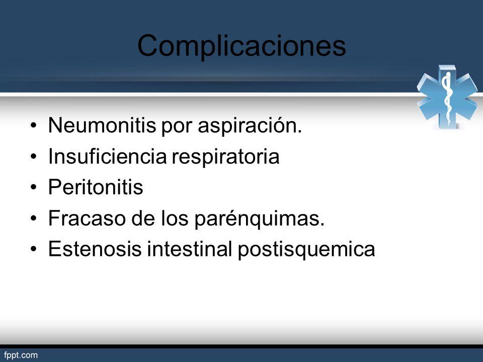 Complicaciones Neumonitis por aspiración. Insuficiencia respiratoria Peritonitis Fracaso de los parénquimas. Estenosis intestinal postisquemica