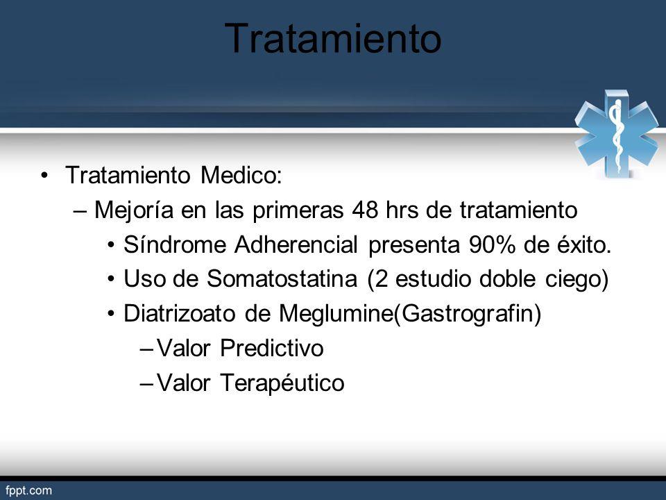 Tratamiento Medico: –Mejoría en las primeras 48 hrs de tratamiento Síndrome Adherencial presenta 90% de éxito. Uso de Somatostatina (2 estudio doble c