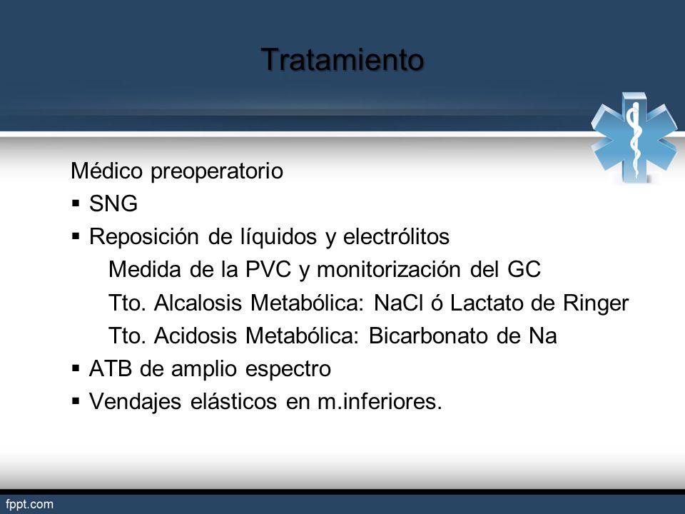 Tratamiento Médico preoperatorio SNG Reposición de líquidos y electrólitos Medida de la PVC y monitorización del GC Tto. Alcalosis Metabólica: NaCl ó