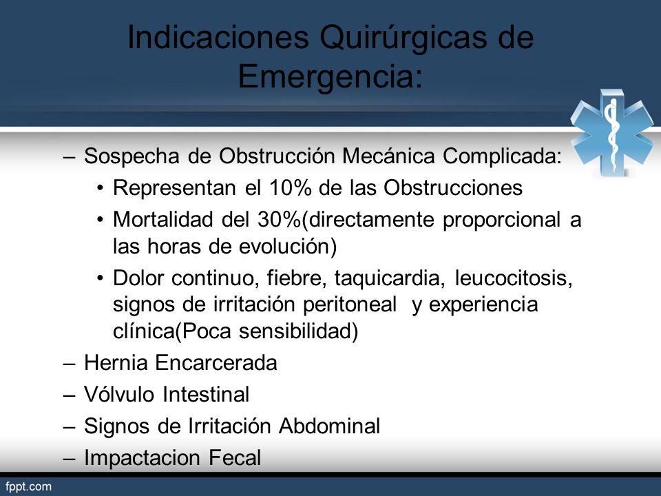 Indicaciones Quirúrgicas de Emergencia: –Sospecha de Obstrucción Mecánica Complicada: Representan el 10% de las Obstrucciones Mortalidad del 30%(direc