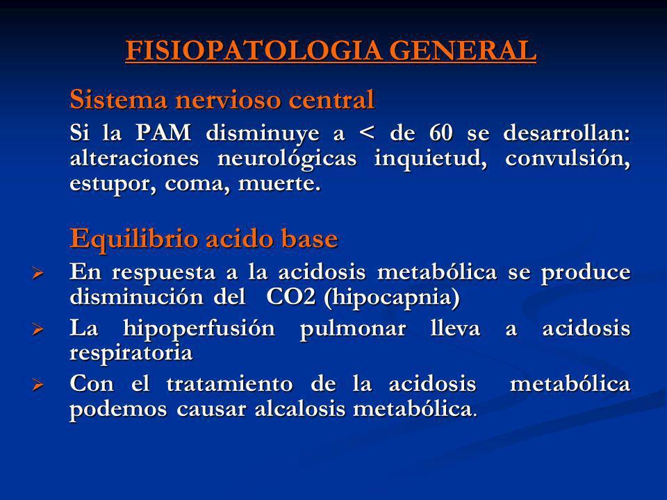 FISIOPATOLOGIA GENERAL Sistema nervioso central Si la PAM disminuye a < de 60 se desarrollan: alteraciones neurológicas inquietud, convulsión, estupor